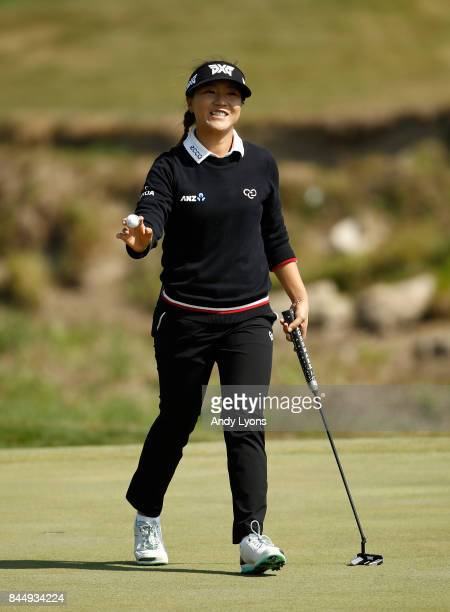 Lydia Ko of New Zealand waves to the crowd after making birdie on the 5th hole during the final round of the Indy Women In Tech ChampionshipPresented...
