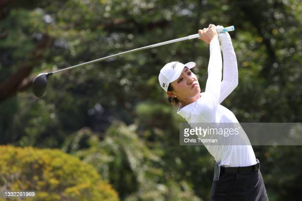 Lydia Ko of Team New Zealand plays her shot from the fourth tee during the first round of the Women's Individual Stroke Play on day twelve of the...