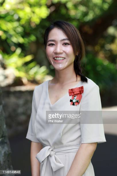Lydia Ko poses for a portrait after receiving the Member of The New Zealand Order of Merit during an investiture ceremony at Government House on May...