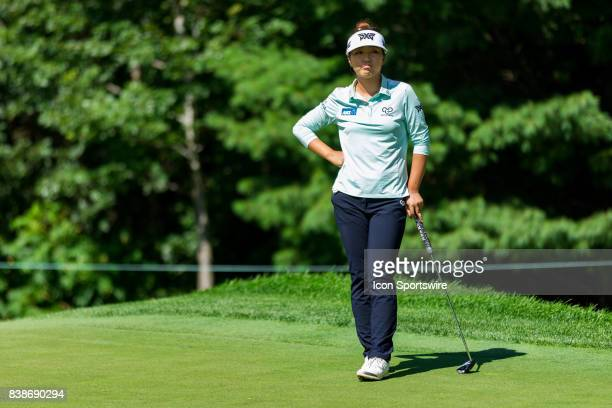 Lydia Ko reacts to Michelle Wie [Not Pictured] putt on the green of the 12th hole during the first round of the Canadian Pacific Women's Open on...