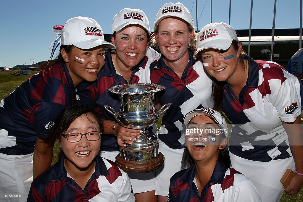 Lydia Ko, Rica Tse, Rebekah Brownlee, Kristin Farrell, Julietta Lam and Faye Amy Nickson and of North Harbour celebrate their finals win during the final day of the Women's Interprovincial Golf Championship at Miramar Golf Course on December 4, 2010 in Wellington, New Zealand.