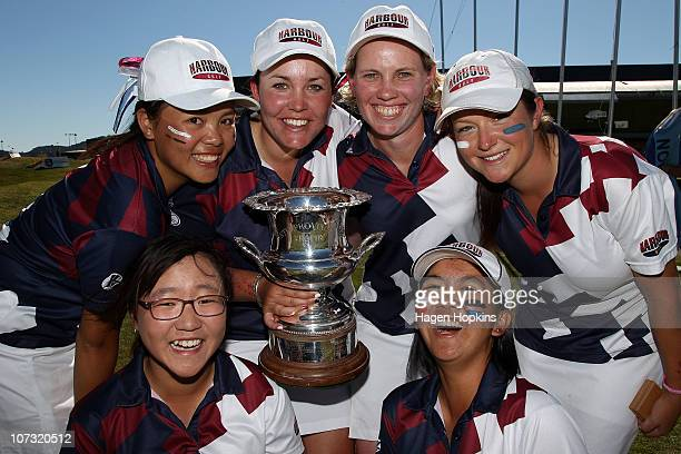 Lydia Ko Rica Tse Rebekah Brownlee Kristin Farrell Julietta Lam and Faye Amy Nickson and of North Harbour celebrate their finals win during the final...