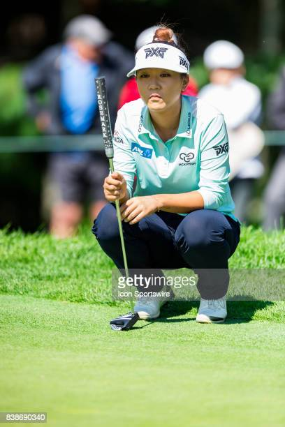 Lydia Ko surveys teh green before her putt on the green of the 12th hole during the first round of the Canadian Pacific Women's Open on August 24,...