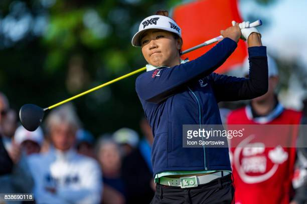 Lydia Ko tees off on the first hole during the first round of the Canadian Pacific Women's Open on August 24, 2017 at The Ottawa Hunt and Golf Club,...