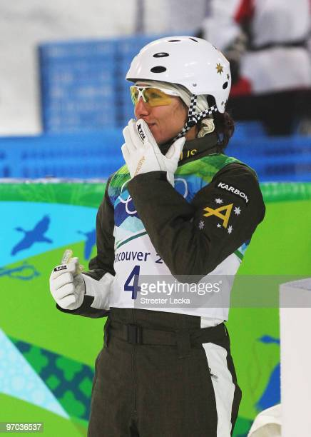 Lydia Lassila of Australia celebrates after winning the gold medal during the freestyle skiing ladies' aerials final on day 13 of the Vancouver 2010...