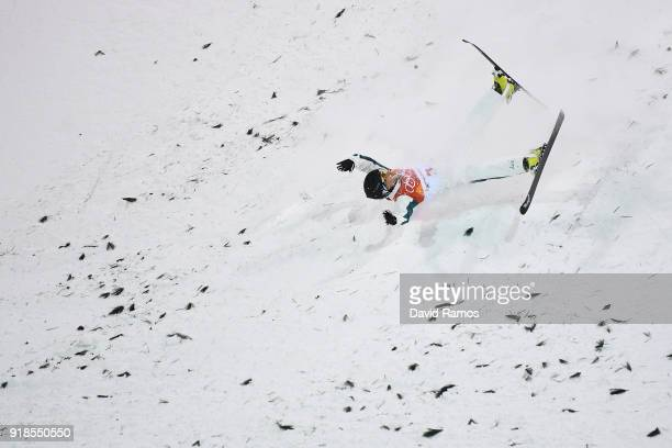 Lydia Lassila of Australia crashes during the Freestyle Skiing Ladies' Aerials Qualification on day six of the PyeongChang 2018 Winter Olympic Games...