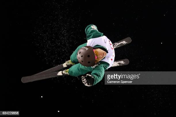 Lydia Lassila of Australia performs an aerial during an Aerials training session prior to the FIS Freestyle World Cup at Bokwang Snow Park on...