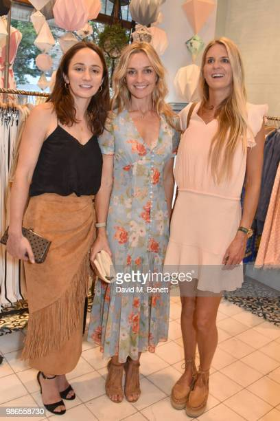 Lydia Leonard Jemma Powell and Jubie Wigan attend a private view of 'Moments' by artist Jemma Powell hosted by Anthropologie King's Road on June 28...