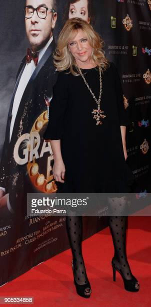 Lydia Lozano attends the 'Grandes Exitos' theatre play premiere at Rialto Theatre on January 15 2018 in Madrid Spain