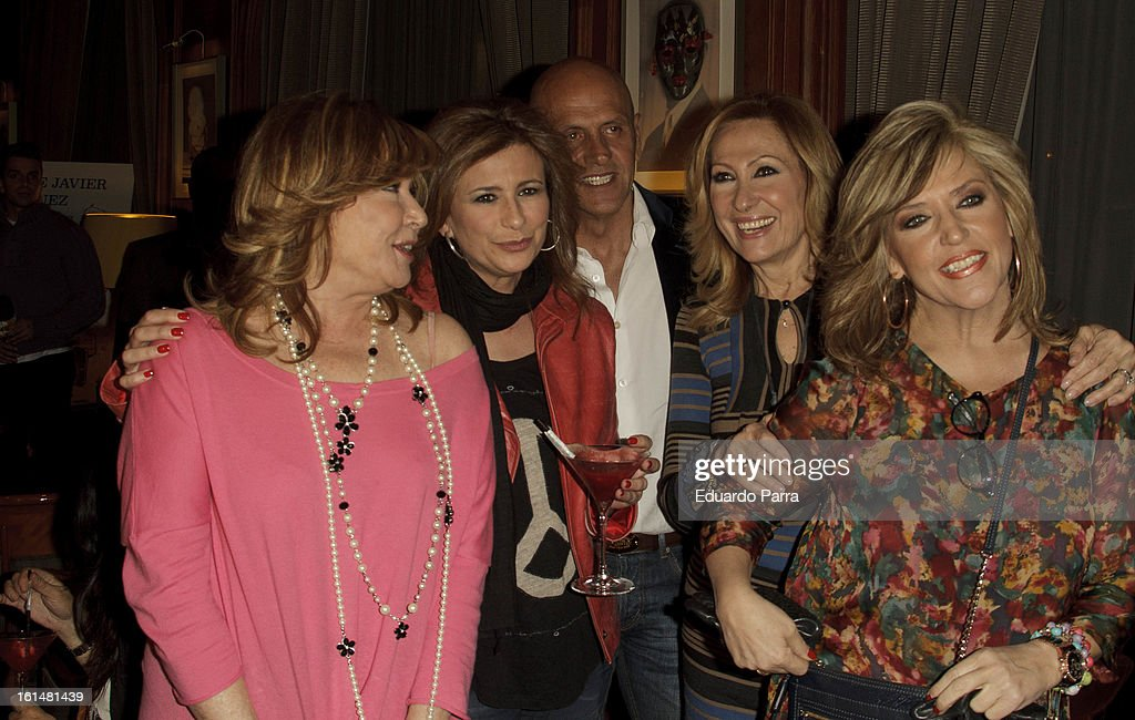 Lydia Lozano (R), Mila Ximenez (L) Kiko Matamoros (C) and friends attend Jorge Javier Vazquez's Golden Book party at Gran Melia Fenix hotel on February 11, 2013 in Madrid, Spain.