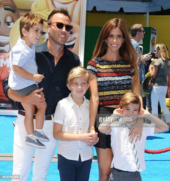 Lydia McLaughlin husband Doug Mclaughlin and sons Stirling McLaughlin and Maverick McLaughlin attend the premiere of 'The Emoji Movie' at Regency...