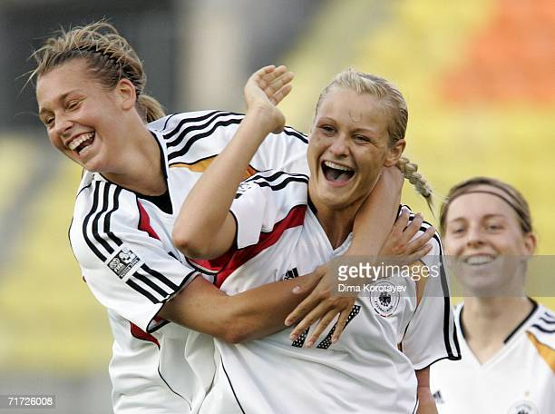 Lydia Neumann and Lena Goessling of Germany celebrate after scoring the first goal during the FIFA Women's Under 20 World Championships Quarter-final...