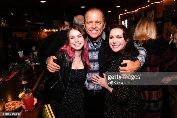 Lydia Paxton Maxwell Caufield and Louise Newbury Paxton celebrate the 60th Birthday of Maxwell Caufield at the Deer Lodge on November 23 2019 in Ojai...