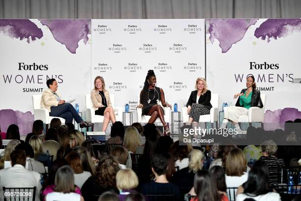 Lydia Polgreen Suzanne Kounkel Bozoma Saint John Gwynne Shotwell and Elaine Welteroth attend the 2017 Forbes Women's Summit at Spring Studios on June...