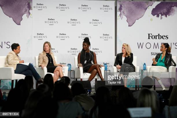 Lydia Polgreen Suzanne Kounkel Bozoma Saint John Gwynne Shotwell and Elaine Welteroth speak during the 2017 Forbes Women's Summit at Spring Studios...