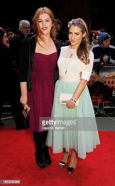 Lydia Rose Bewley and Sophie Colquhoun attend the UK Premiere of 'Olympus Has Fallen' at BFI IMAX on April 3 2013 in London England