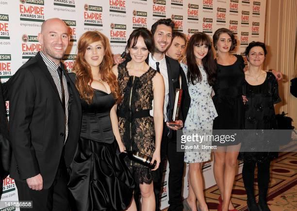 Lydia Rose Bewley, Laura Haddock, Blake Harrison, Joe Thomas, Tamla Kari and Jessica Knappett of Best Comedy winner 'The Inbetweeners Movie' pose in...