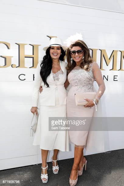 Lydia Schiavello and Gina Liano poses at the Mumm Marquee on Oaks Day at Flemington Racecourse on November 9 2017 in Melbourne Australia