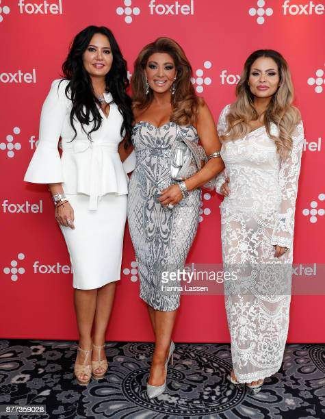 Lydia Schiavello Gina Liano and Venus BehbahaniClark arrive at a Real Housewives of Melbourne Season 4 Media Opportunity on November 22 2017 in...
