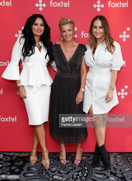 Lydia Schiavello Sally Bloomfield and Jackie Gillies arrive at a Real Housewives of Melbourne Season 4 Media Opportunity on November 22 2017 in...