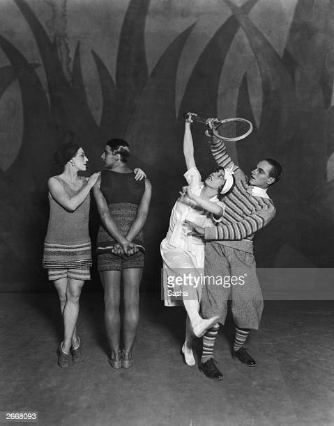 Lydia Sokolova Anton Dolin Bronislava Nijinska and Leon Woizikowsky in the Diaghilev Ballets Russes production of 'Le Train Bleu' London Billed as an...