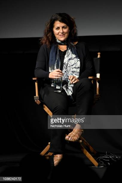 Lydia Tenaglia speaks onstage at the 'Anthony Bourdain Parts Unknown' Season 12 Premiere panel during the 2018 Tribeca TV Festival at Spring Studios...
