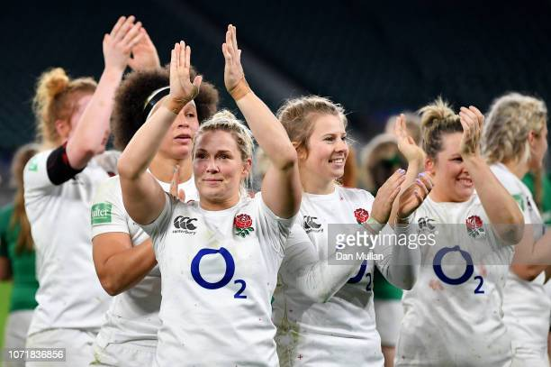 Lydia Thompson of England applauds the fans following her side's victory during the Quilter International match between England Women and Ireland...