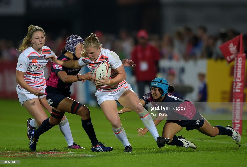 Lydia Thompson of England in action during the match between England and Japan on Day One of the Emirates Dubai Rugby Sevens - HSBC Sevens World Series at The Sevens Stadium on November 30, 2017 in Dubai, United Arab Emirates.