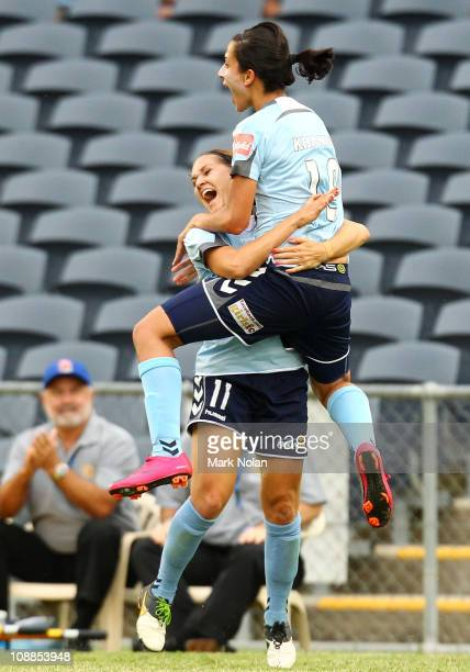 Lydia Vandenbergh and Leena Khamis of Sydney celebrate a goal by Khamis during the W-League semi final match between Sydney FC and the Melbourne...