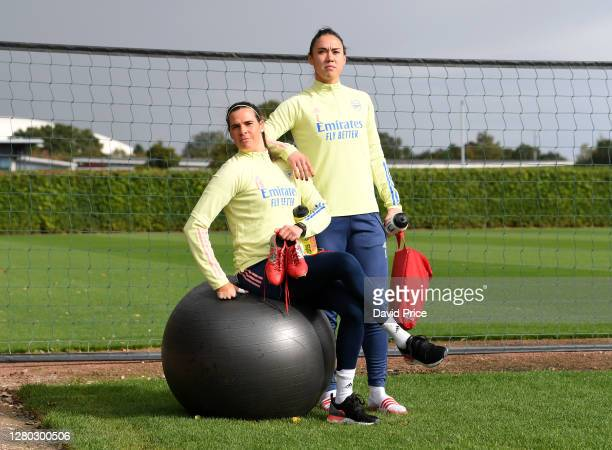 Lydia Williams and Manuela Zinsberger of Arsenal during the Arsenal Women's Training Session at London Colney on October 14, 2020 in St Albans,...