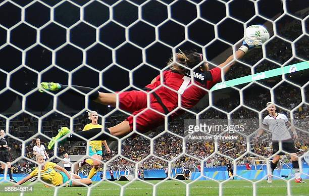 Lydia Williams of Australia attempts to make a save against Germany in the Women's First Round Group F match at Arena Corinthians on August 6 2016 in...