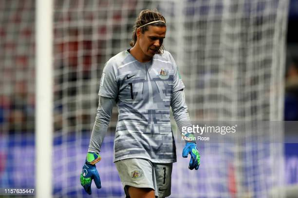 Lydia Williams of Australia looks dejected following her team's defeat in the penalty shoot out during the 2019 FIFA Women's World Cup France Round...