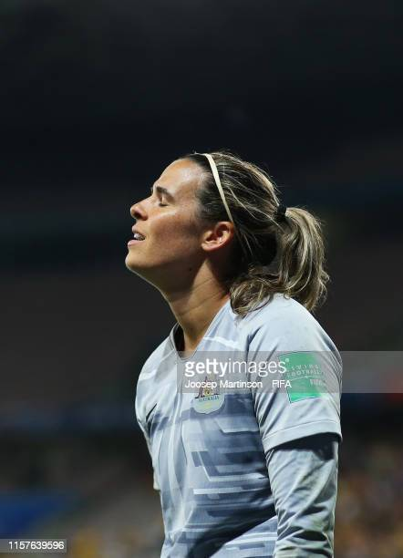 Lydia Williams of Australia reacts during the shoot out in the 2019 FIFA Women's World Cup France Round Of 16 match between Norway and Australia at...