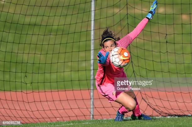 Lydia Williams of Australia suffers a goal during the Women's Algarve Cup Tournament match between Australia and Denmark at Municipal de Albufeira on...