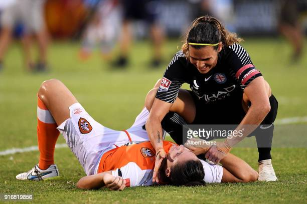 Lydia Williams of Melbourne City consoles Emily Gielnik of the Roar after the WLeague Semi Final match between the Brisbane Roar and Melbourne City...