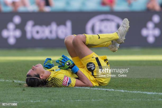 Lydia Williams of the Melbourne City collides with Sydney's Lisa De Vanna during the WLeague Grand Final match between the Sydney FC and the...