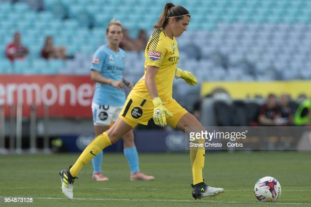 Lydia Williams of the Melbourne City kicks the ball during the round nine WLeague match between the Western Sydney Wanderers and Melbourne City at...