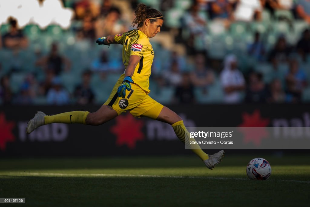 Lydia Williams of the Melbourne City takes a goal kick during the W-League Grand Final match between the Sydney FC and the Melbourne City at Allianz Stadium on February 18, 2018 in Sydney, Australia.
