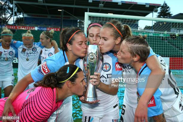 Lydia Williams Rebekah Stott Erika Tymrak Beverly Yanez and Jessica Fishlock of Melbourne City pose with the trophy after winning the 2017 WLeague...