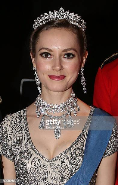 Lydia Wilson as 'Kate Middleton' poses backstage at the hit play 'King Charles III' on Broadway at The Music Box Theater on December 8 2015 in New...