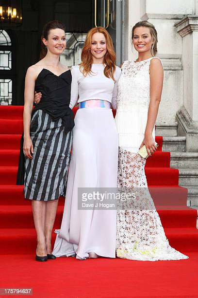 Lydia Wilson Rachel McAdams and Margot Robbie attend the world premiere of 'About Time' at Somerset House on August 8 2013 in London England