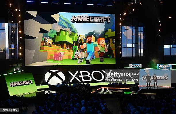 Lydia Winters and Sax Persson speak about Minecraft during Microsoft's E3 2016 Xbox press conference at the Galen Center in Los Angeles California on...