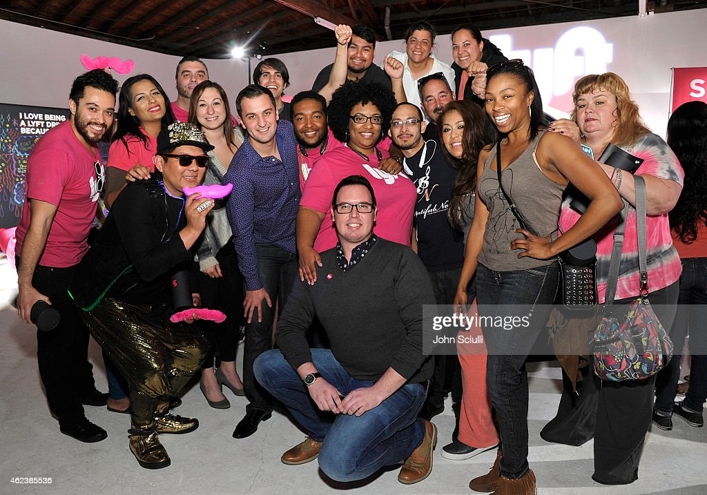 Lyft Co-founder, John Zimmer and Lyft drivers attend the Lyft driver rally at Siren Studios on January 27, 2015 in Hollywood, California.