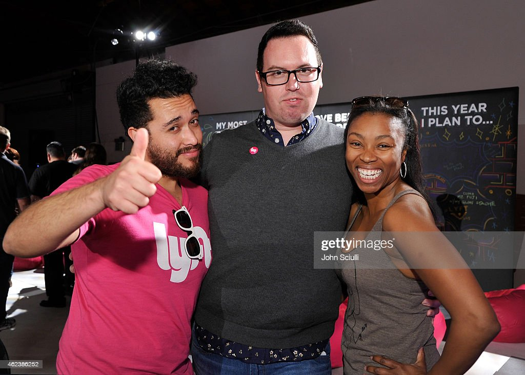 Lyft drivers Jonathan Rico, Jeren Miles and Jovan Gamble attend the Lyft driver rally at Siren Studios on January 27, 2015 in Hollywood, California.