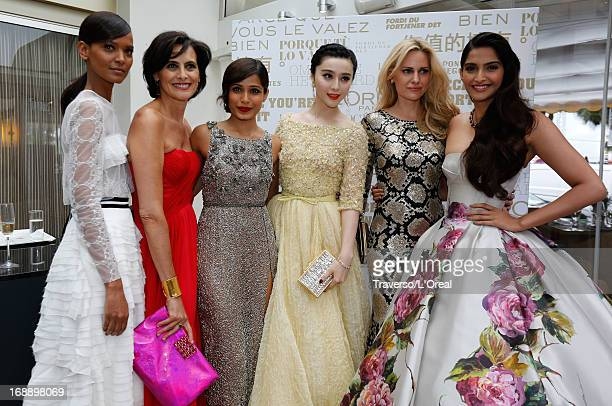 Lyia Kebede Ines de la Fressange Freida Pinto Fan Bingbing Aimee Mullins and Sonam Kapoo pose at a L'Oreal cocktail reception during The 66th Cannes...