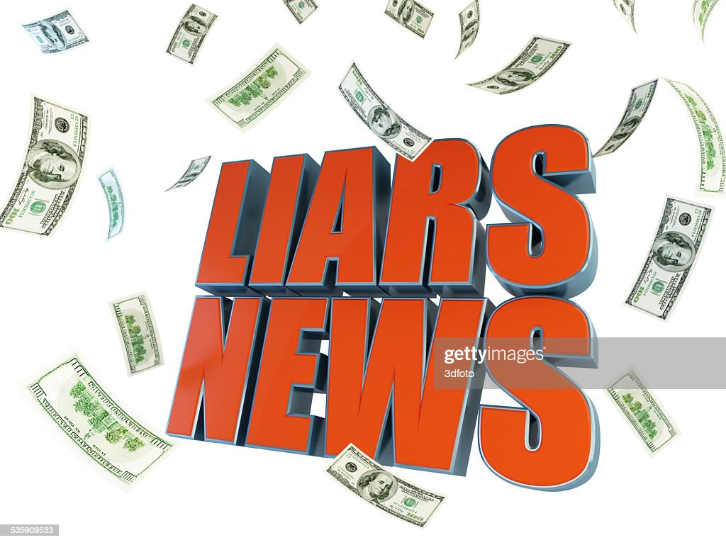 lying about selling news for the money : Stock Photo