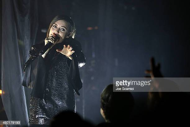 Lykke Li performs at StubHub's Next Stage Featuring Lykke Li benefiting the Mr Holland's Opus Foundation at The Roxy Theatre on May 18 2014 in West...