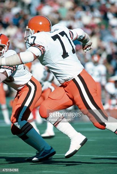 Lyle Alzado of the Cleveland Browns in action against the Philadelphia Eagles during an NFL Football game November 4 1979 at Veterans Stadium in...