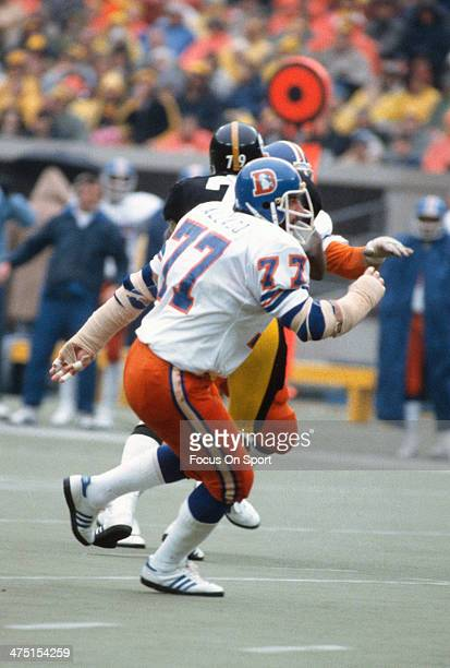 Lyle Alzado of the Denver Broncos in action against the Pittsburgh Steelers during the AFC Divisional Playoff game December 30 1978 at Three Rivers...
