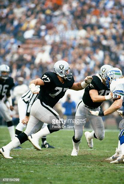 Lyle Alzado of the Los Angeles Raiders in action against the Seattle Seahawks during an NFL Football game October 30 1983 at the Los Angeles Memorial...